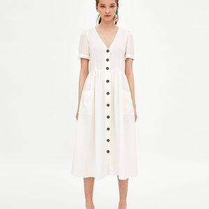 Zara button front linen blend midi dress - Size S